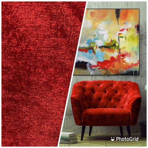NEW! Luxury Heavyweight Upholstery Velvet Chenille Fabric - Red - BTY
