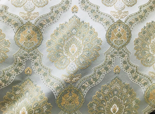 SWATCH-Designer Brocade Satin Fabric- Antique Pastel Blue And Yellow- Upholstery - Fancy Styles Fabric Boutique