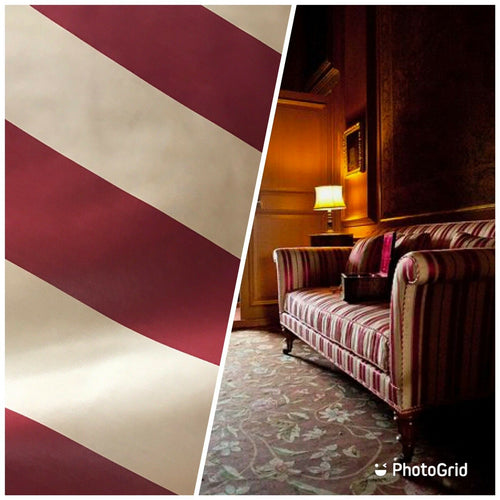 NEW Designer Stripe Upholstery & Drapery Satin Fabric - Wine Red BTY