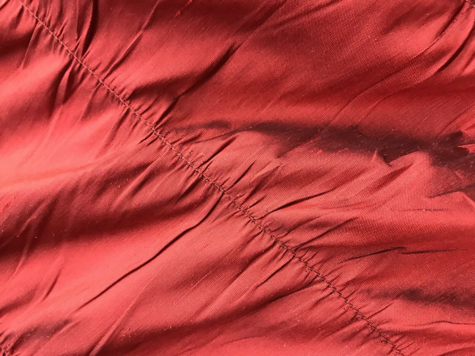 NEW! 100% Silk Taffeta Ruched And Gathered Drapery Fabric - By The Yard -Red