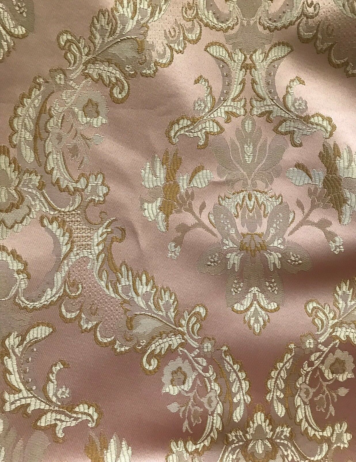 "110"" Wide- SALE! Designer Brocade Jacquard Fabric- Antique Pink Gold- Damask"