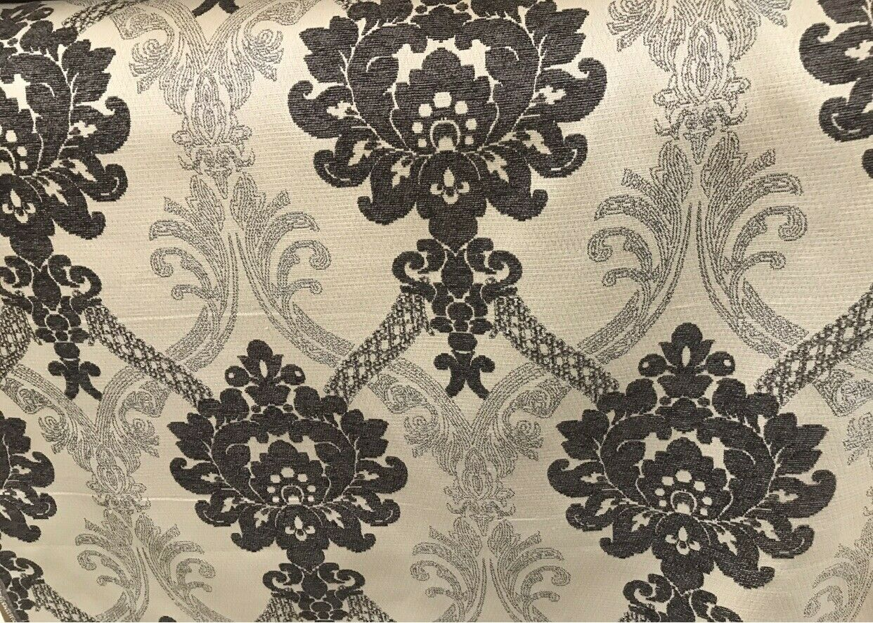 NEW Designer Burnout Chenille Velvet Damask Fabric Dark Gray Taupe