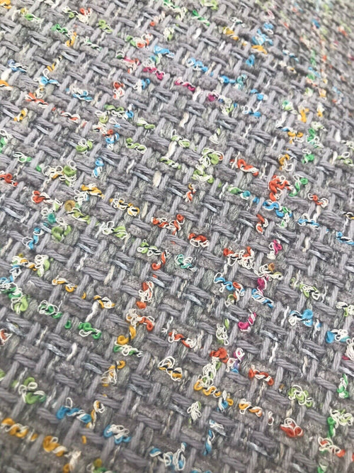 NEW Designer Nubby Upholstery Heavyweight Tweed Fabric- Gray & Multicolor BTY