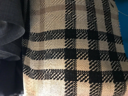 Designer Imported Italian Wool Plaid Tartan Woven Brown Fabric by the yard
