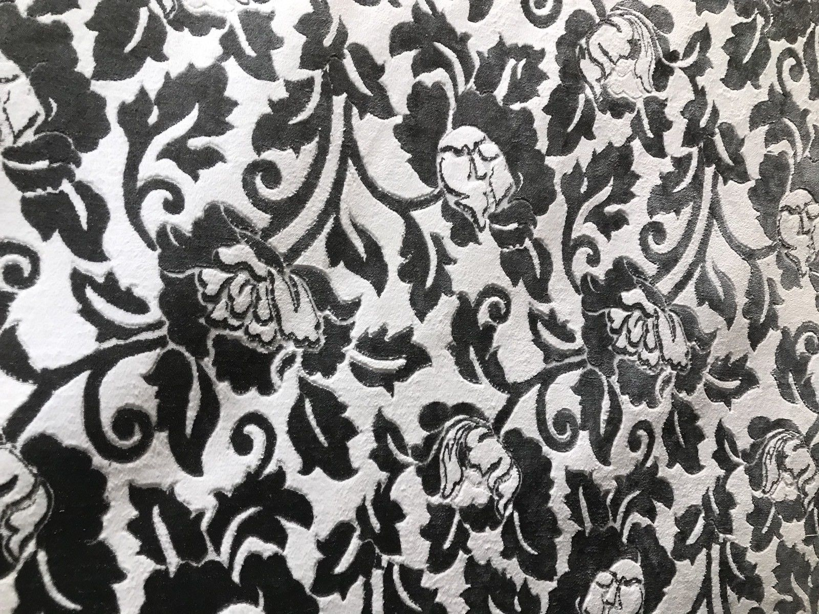 New Burnout Velvet Upholstery Fabric Floral Charcoal Almost Black