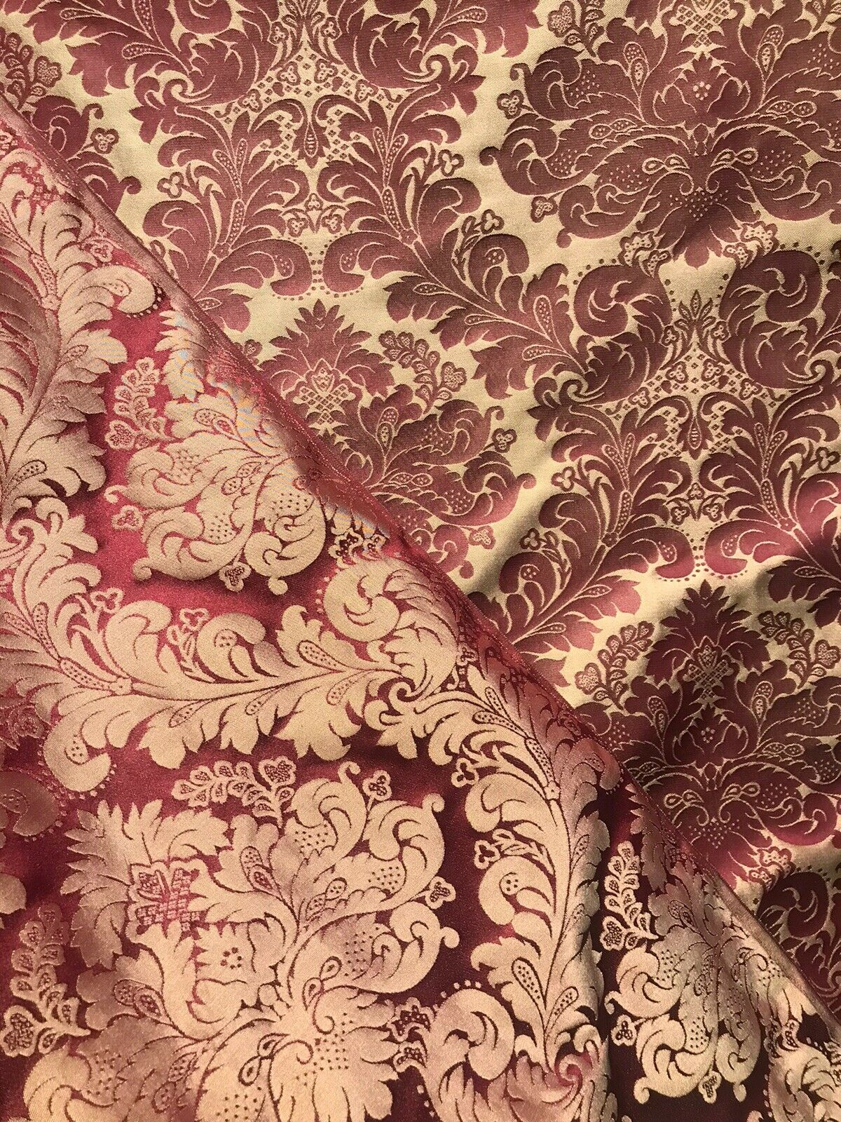 NEW! SALE! 100% Silk Taffeta Neoclassical Fabric - Antique Red & Gold Damask BTY LLSUR0005