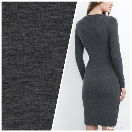 SALE! Designer Heather Charcoal Cotton Blend Jersey Knit Fabric