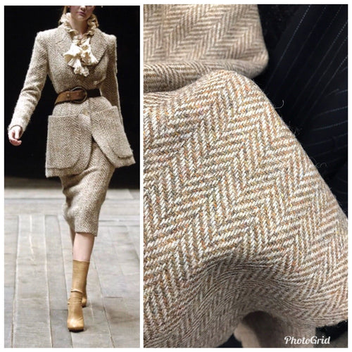 "Designer 100% Wool Brown Beige Herringbone Woven Coat Fabric- 58"" Wide - Fancy Styles Fabric Pierre Frey Lee Jofa"