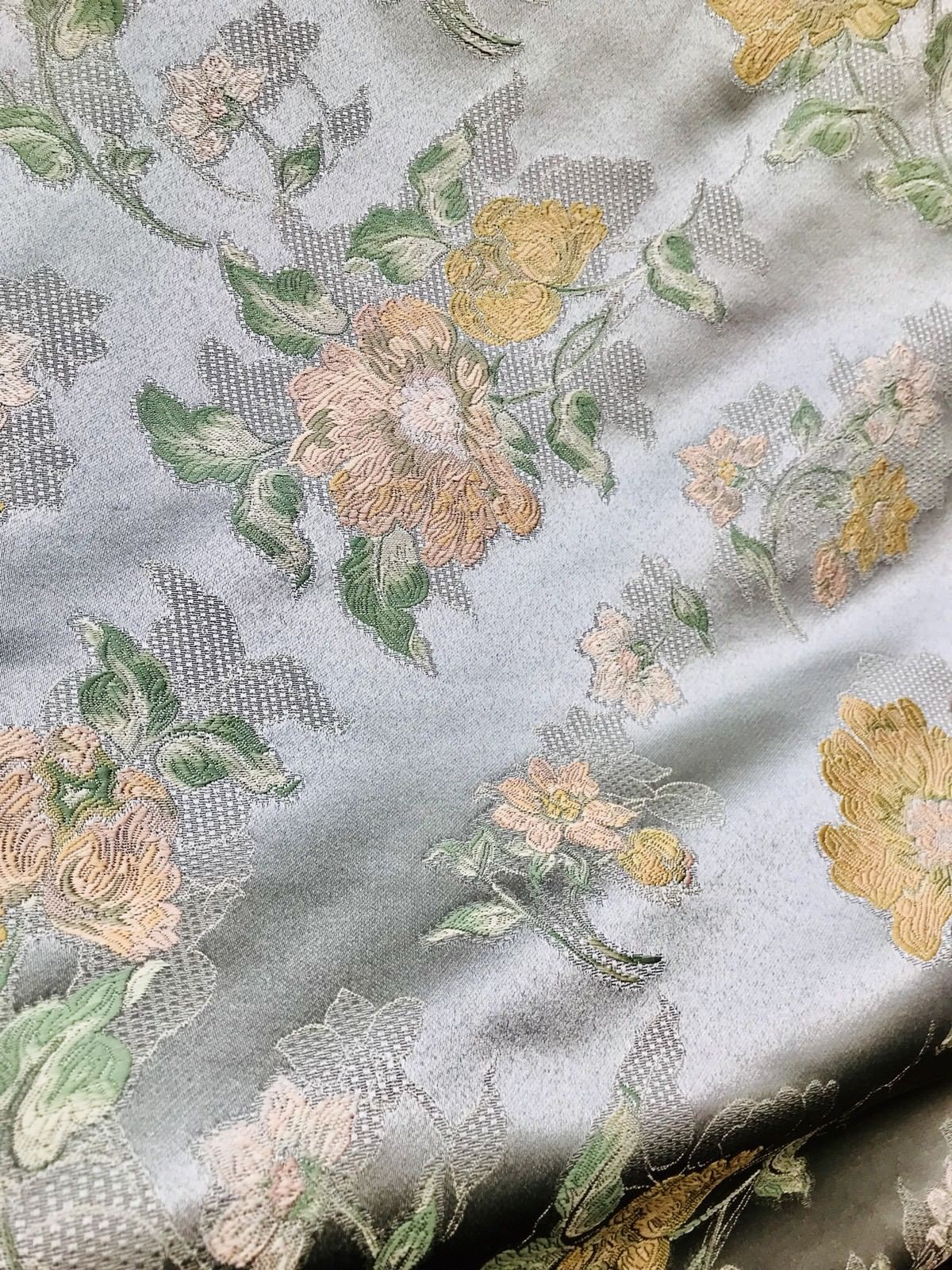 SWATCH Designer Brocade Satin Fabric- Mint Green Pink Yellow Floral - Damask - Fancy Styles Fabric Boutique