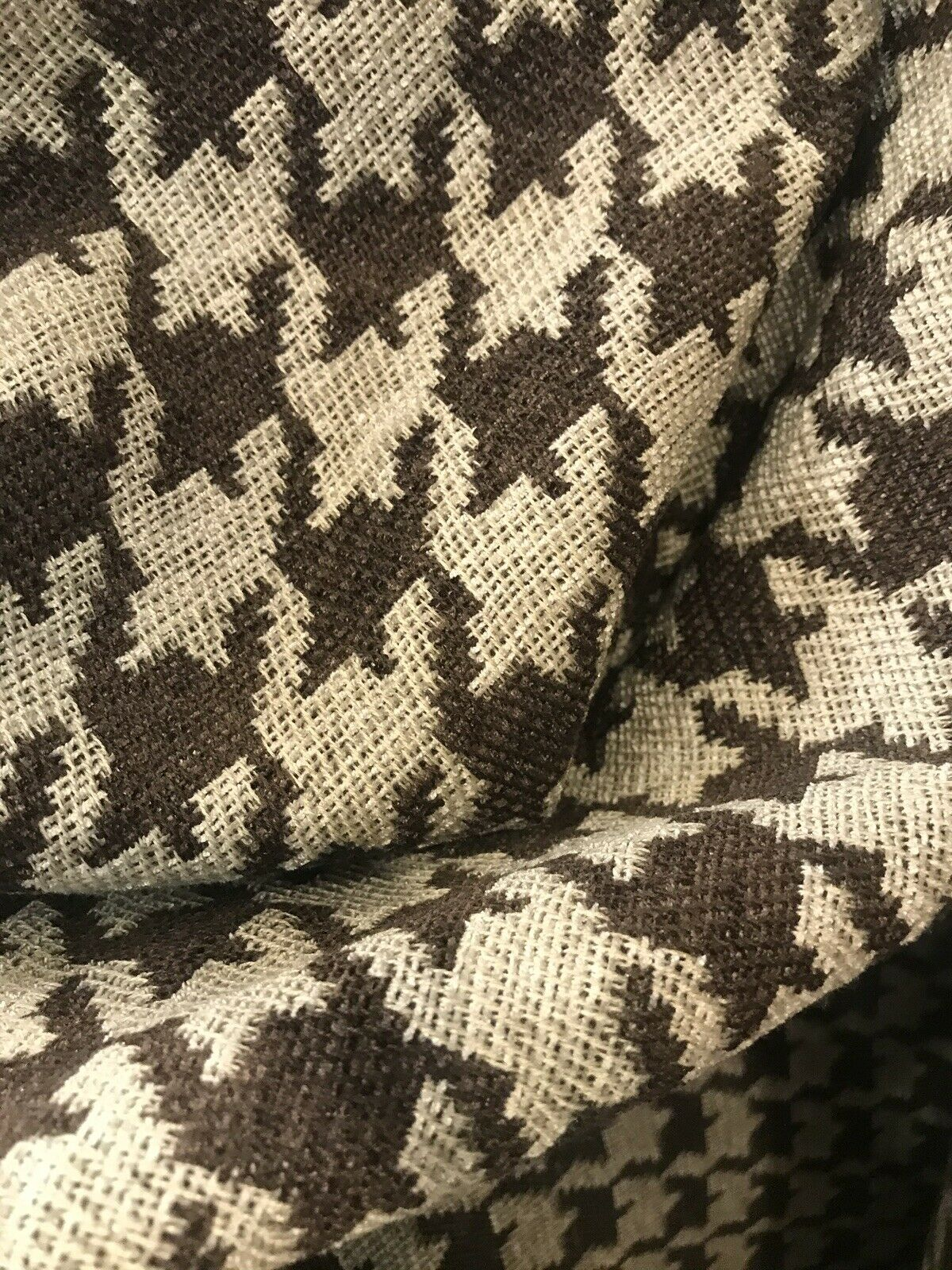 NEW Designer Upholstery Oversized Houndstooth Pattern Fabric - Brown & Natural