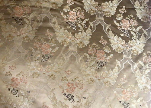 "NEW SALE 110"" Wide Designer Brocade Satin Fabric- Ecru Champagne Floral Damask"