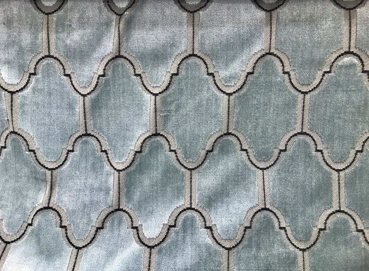 NEW! Novelty Italian Burnout Geometric Velvet Fabric - Upholstery- French Light Blue