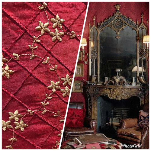 SWATCH 100% Silk Taffeta Embroidered Floral Quilted Motif Fabric - Dark Red - Fancy Styles Fabric Boutique