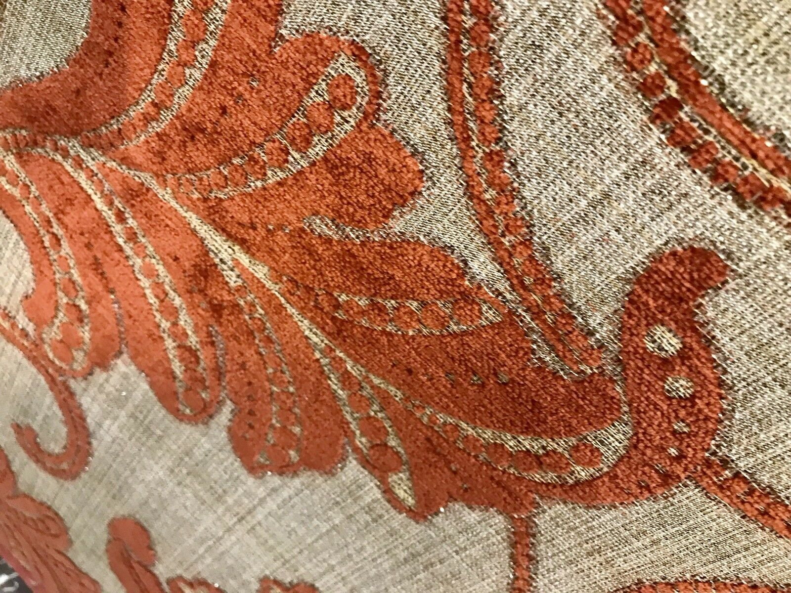 NEW! Designer Burnout Velvet Floral Upholstery Fabric- Burnt Orange Rust Red
