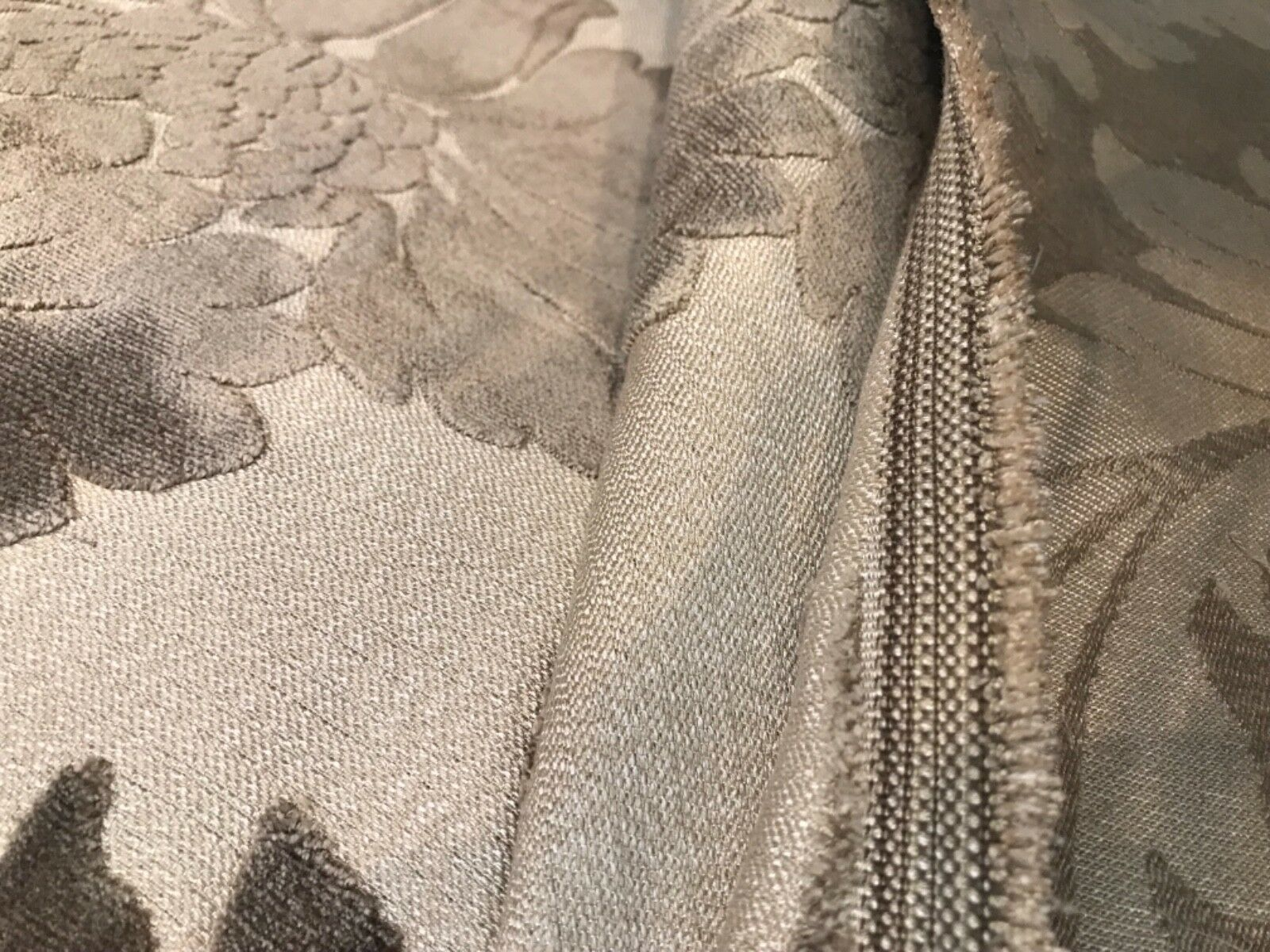 Emperor Walter Novelty Italian Burnout Oversized Damask Pattern Chenille Fabric - Taupe Gray