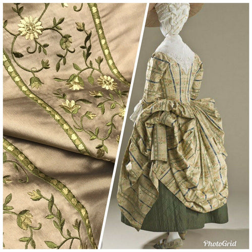 NEW! 100% Silk Dupioni Embroidered Floral Stripes Fabric- Khaki & Green