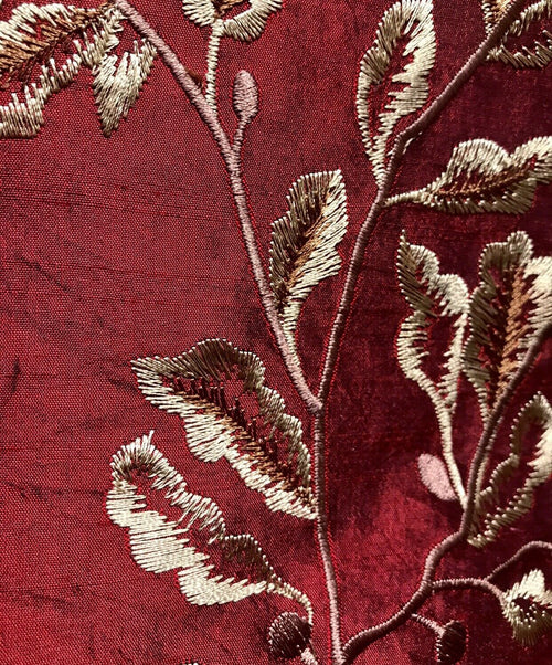 "NEW 100% Silk Dupioni Embroidery Floral Leaves Fabric- Red And Gold- 55"" Wide - Fancy Styles Fabric Pierre Frey Lee Jofa Brunschwig & Fils"