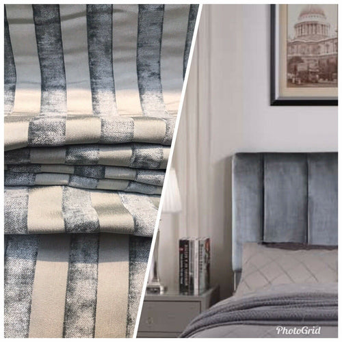NEW Striped Double Sided Burnout Chenille Velvet Fabric- Gray Upholstery
