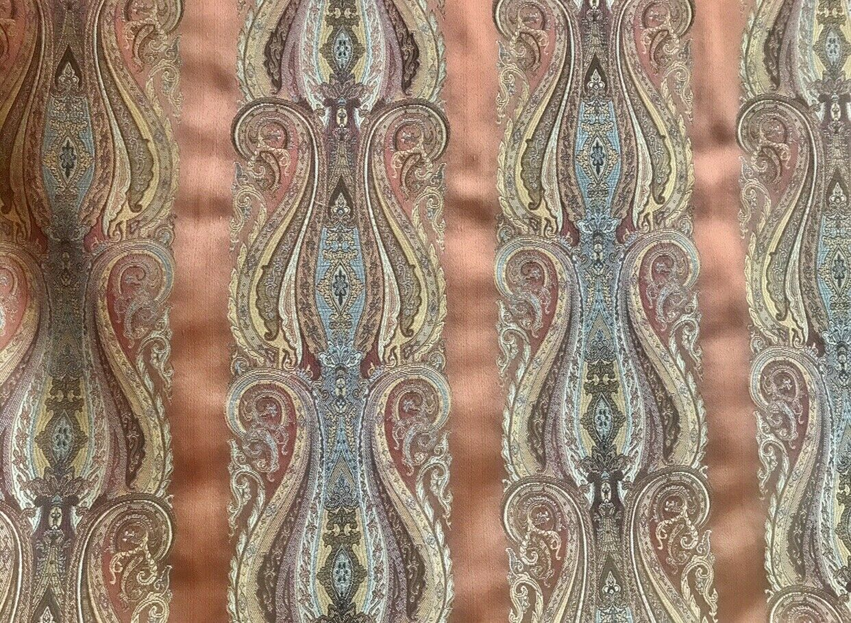 NEW! Designer Brocade Satin Fabric- Burnt Peach And LT Blue- Upholstery Damask
