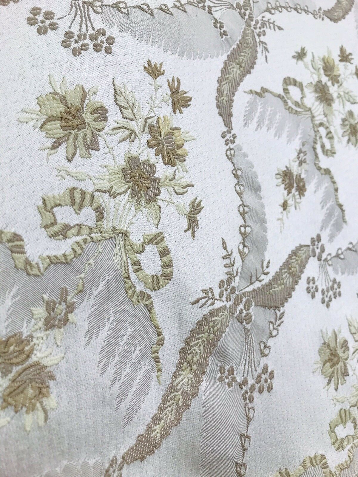 NEW Italian Brocade Satin Fabric- Ivory White- Floral Upholstery Neoclassical