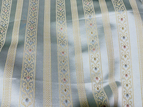 NEW Novelty Ritz Neoclassical Brocade Striped Satin Fabric - Louis Blue