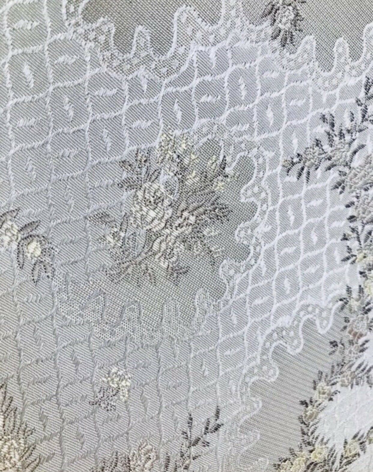 "SWATCH 4"" x 7"" - Brocade Jacquard Fabric- White,Ivory, Grey Floral- Upholstery"