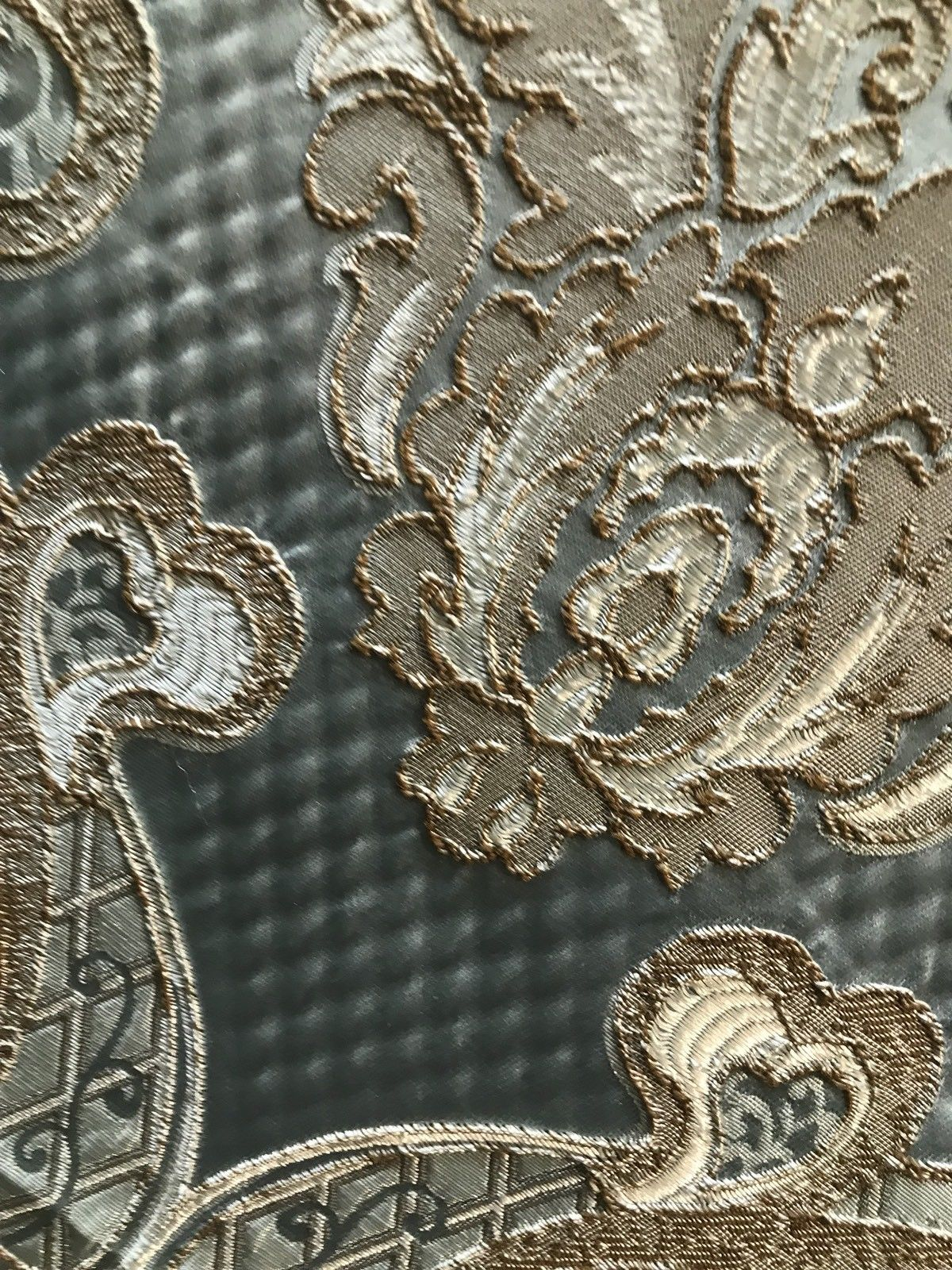 SWATCH Antique Inspired Eggshell Silver Blue Satin Brocade Upholstery Fabric - Fancy Styles Fabric Boutique