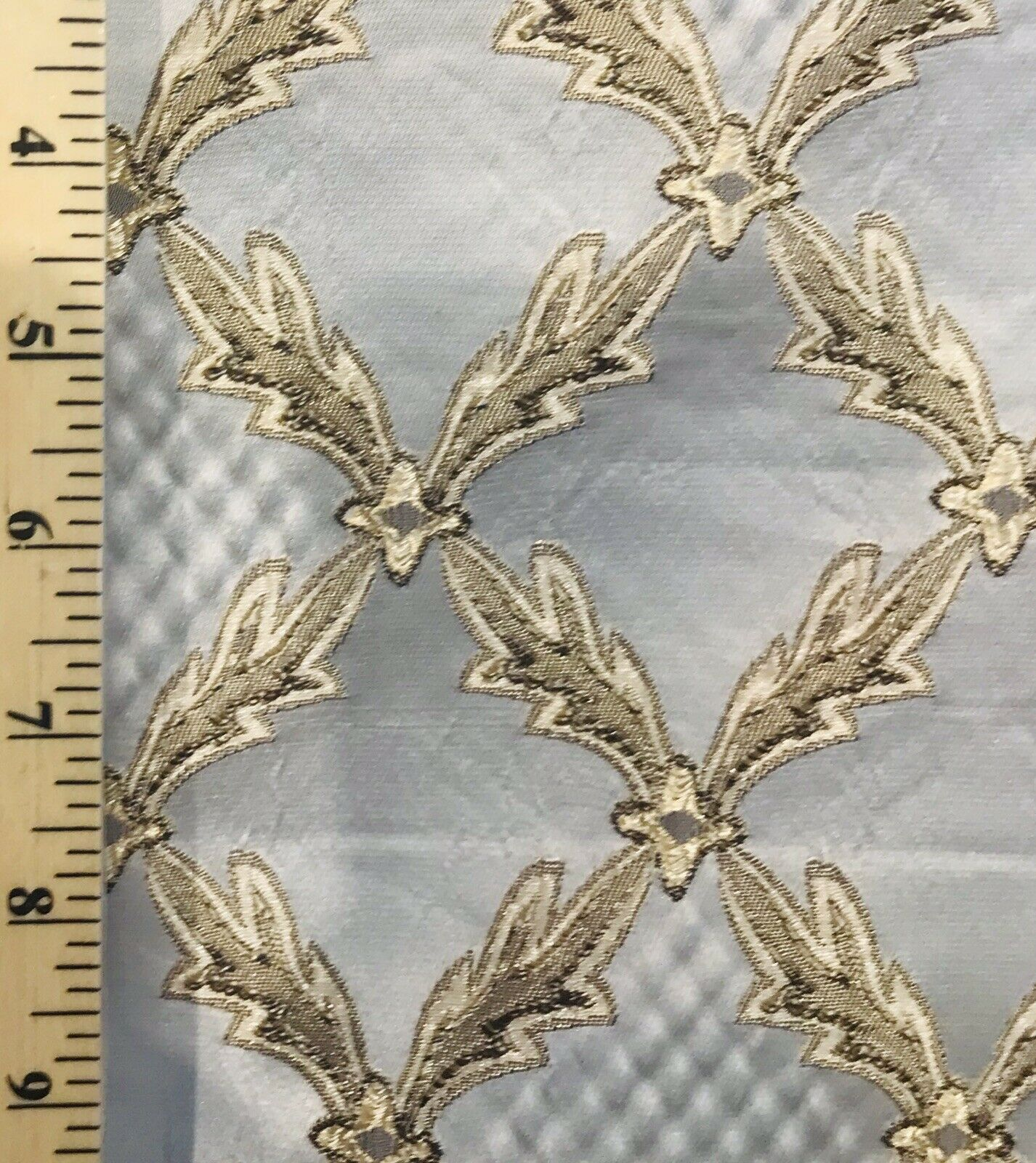 Italian Brocade Diamond Satin Fabric Ivory Gold Upholstery LLPBI0003