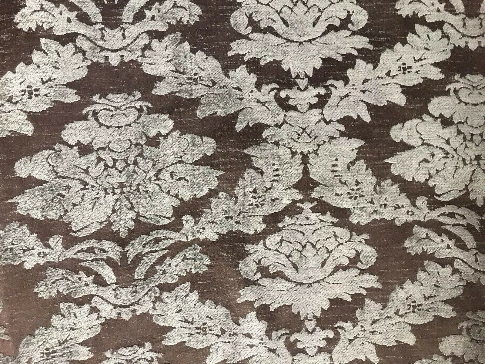 BACK IN STOCK!!! Lady Janet Damask Burnout Chenille Velvet Fabric - Gray & Brown