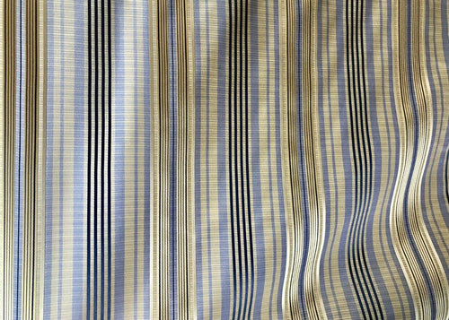 NEW! SALE! 100% Silk Dupioni Textured Drapery Fabric - Stripe Blue And Gold
