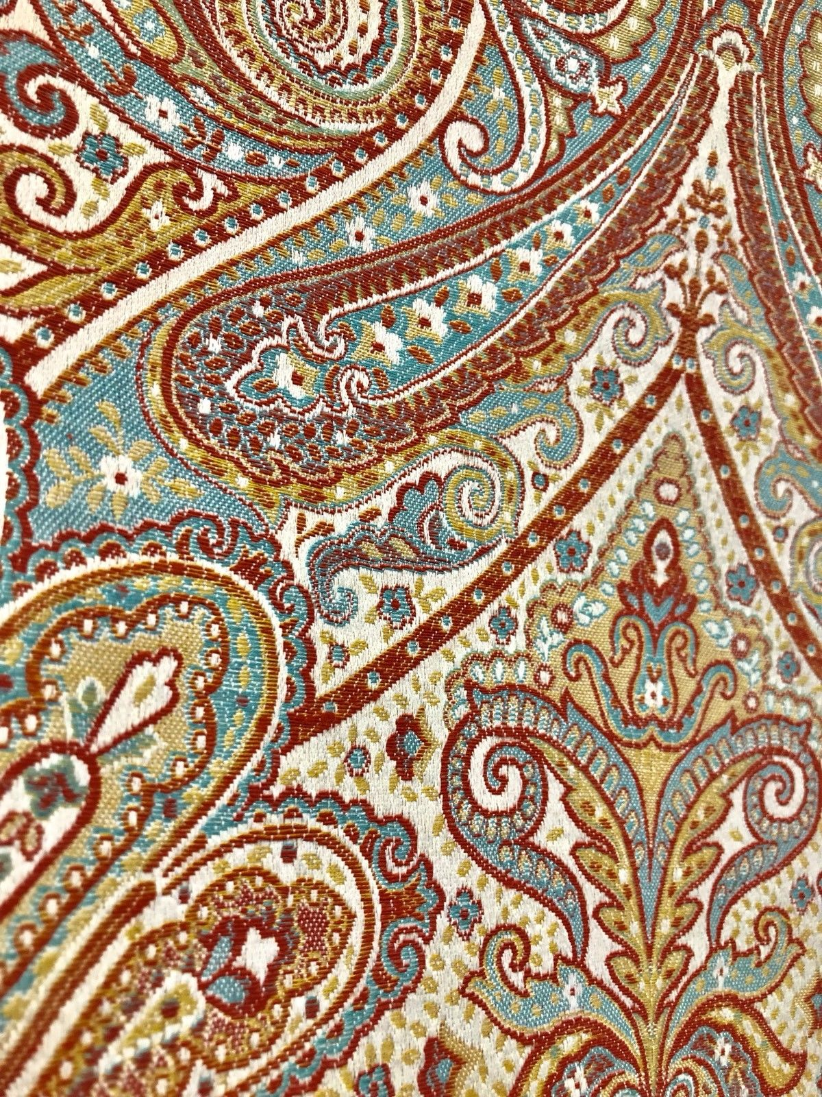 NEW SALE! Antique Inspired Paisley Brocade Satin Fabric- Upholstery Or Drapery - Fancy Styles Fabric Boutique