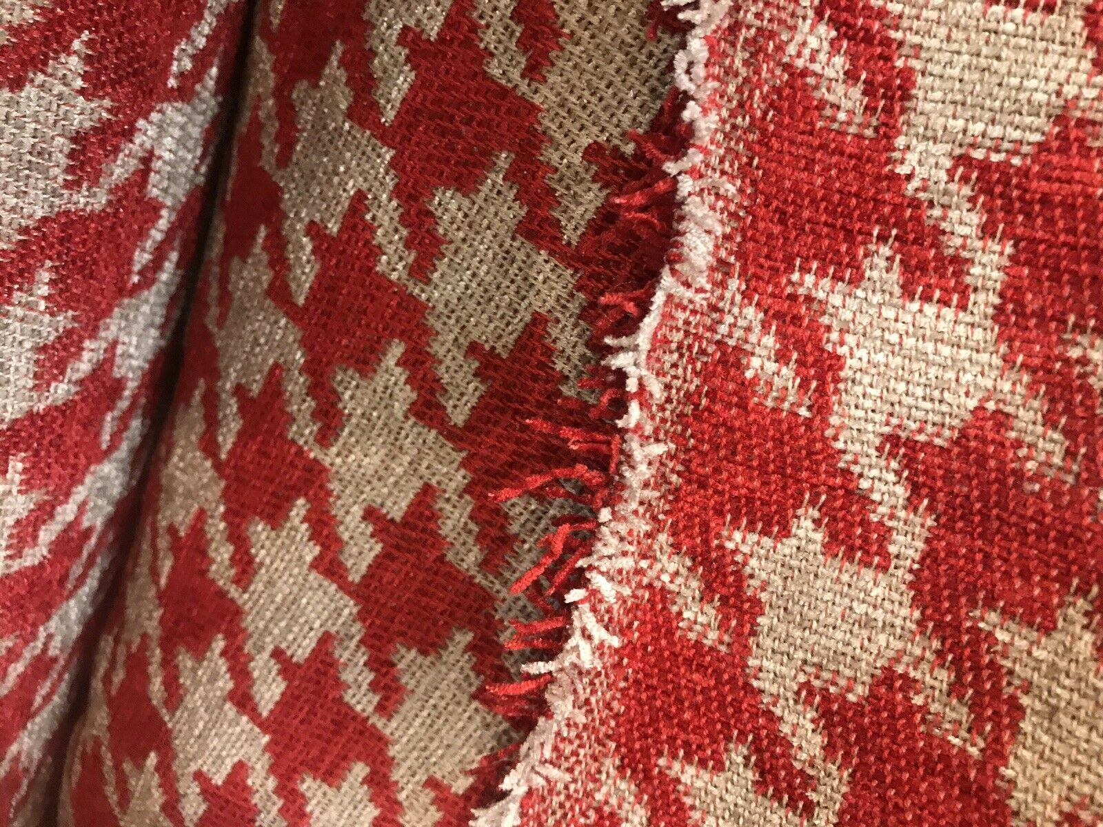 NEW Designer Upholstery Oversized Houndstooth Pattern Fabric - Red & Natural
