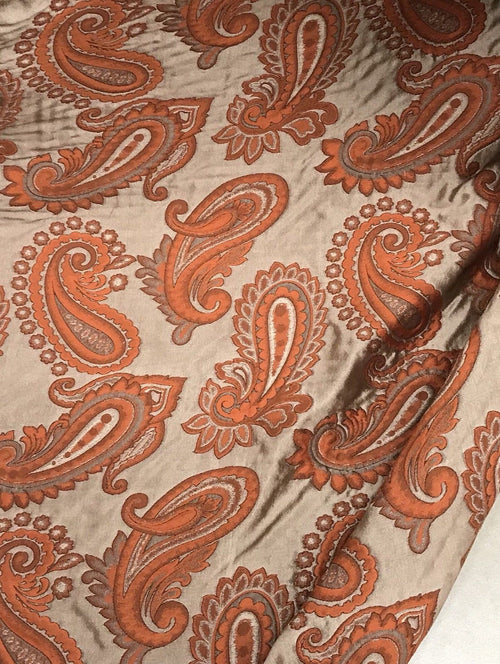 Designer Drapery Fabric - Paisley- Orange And Beige- Decorating - Fancy Styles Fabric Pierre Frey Lee Jofa