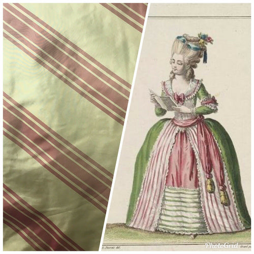 "NEW Designer 100% Silk Taffeta Dupioni Stripes Fabric - Faded Green/Red 55"" Wide"