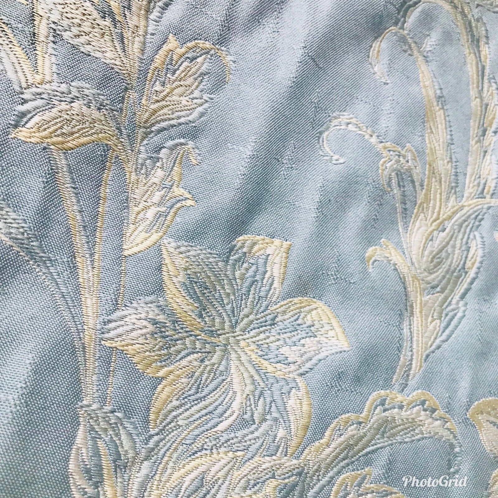 "SWATCH 4"" X 7"" - Quilted Brocade Floral Upholstery Fabric- Antique Blue - Fancy Styles Fabric Boutique"