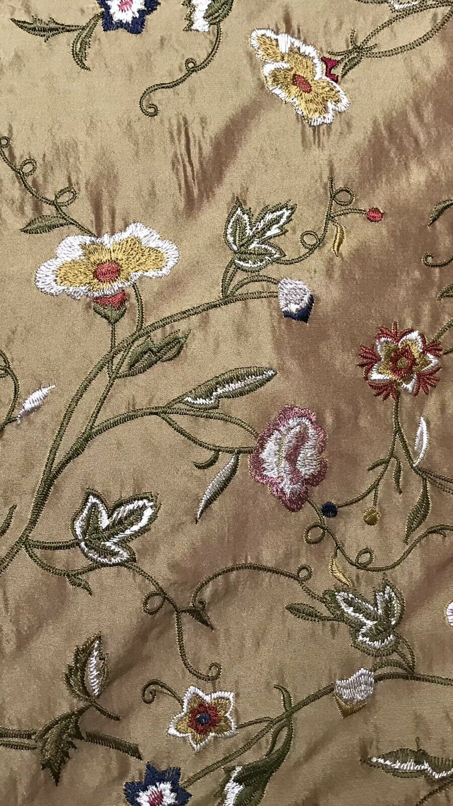 NEW! Designer 100% Silk Dupioni Embroidery Floral Fabric Gold & Pink Iridescence