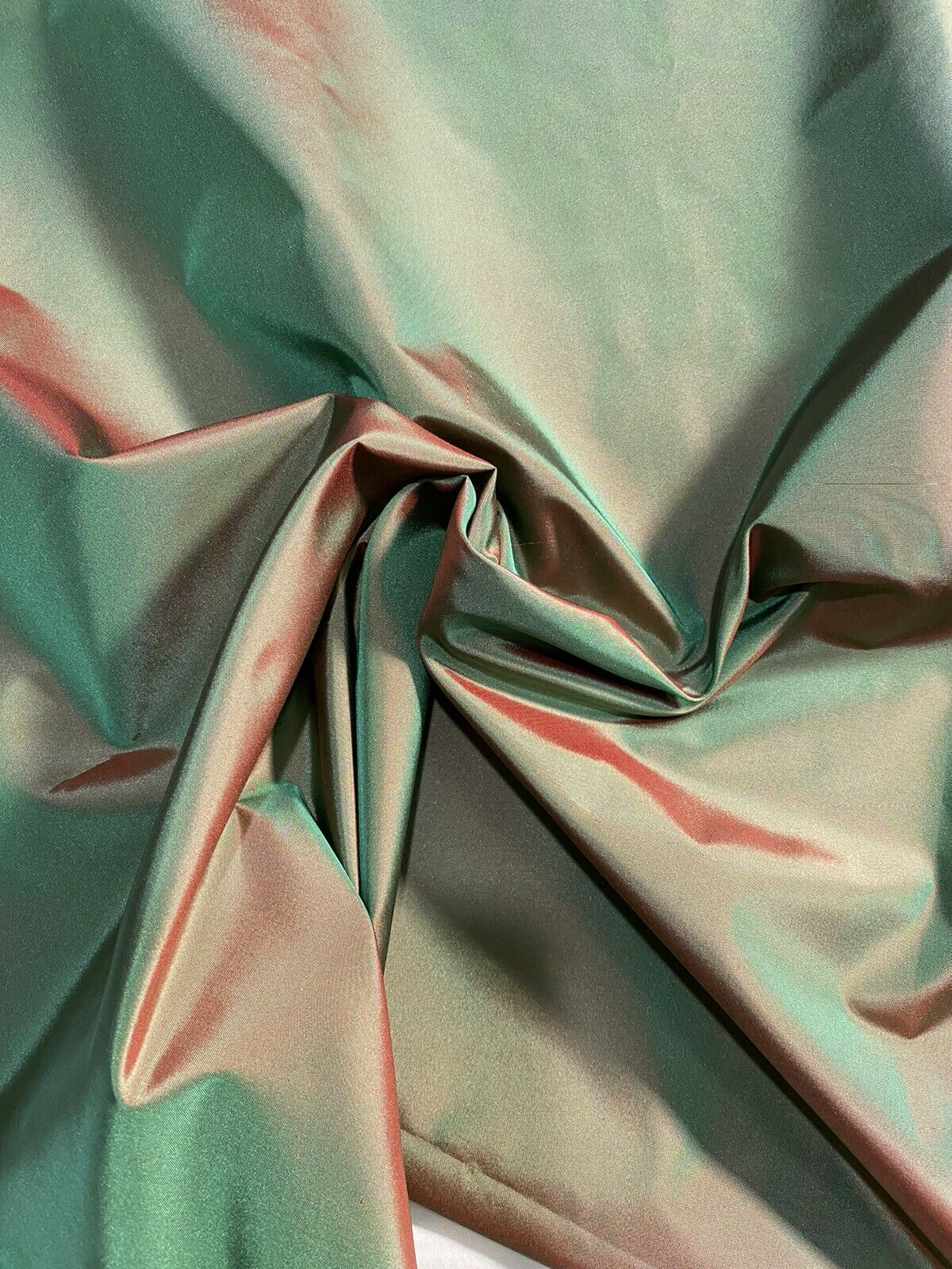 Designer 100% Silk Taffeta Fabric - Electric Green with Cinnamon Red Iridescence