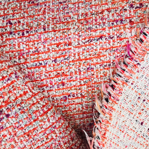 NEW Novelty Designer Upholstery Heavyweight Tweed Fabric- Red White- Sold By The Yard - Fancy Styles Fabric Boutique