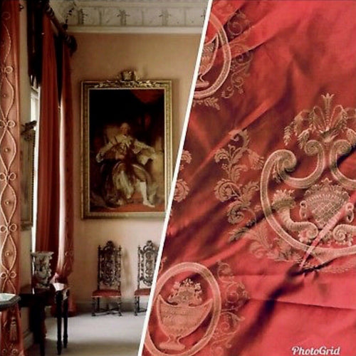 SALE! 100% Silk Jacquard Neoclassical Fabric - Antique Persimmon Red Damask