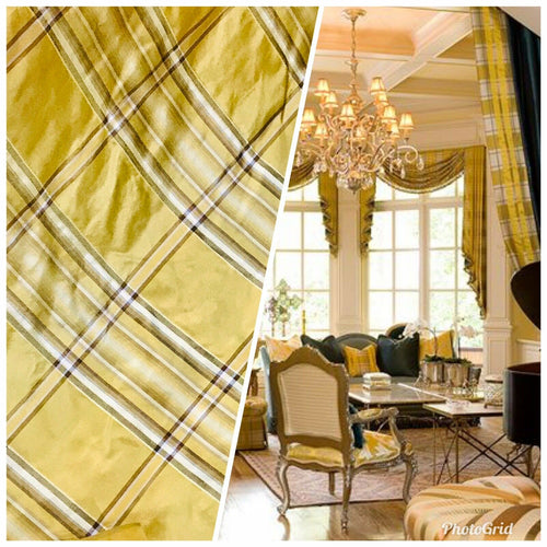 NEW Designer 100% Silk Taffeta Plaid Tartan Fabric- Yellow BY The Yard