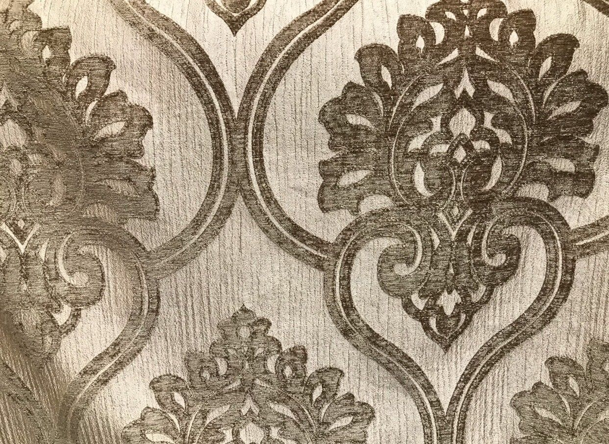 SWATCH- Designer Velvet Chenille Fabric - Antique Taupe Floral Motif- Upholstery - Fancy Styles Fabric Boutique