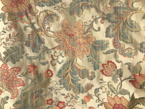 SWATCH Designer Brocade Satin Floral Drapery Fabric- Antique Gold And Pink - Fancy Styles Fabric Boutique