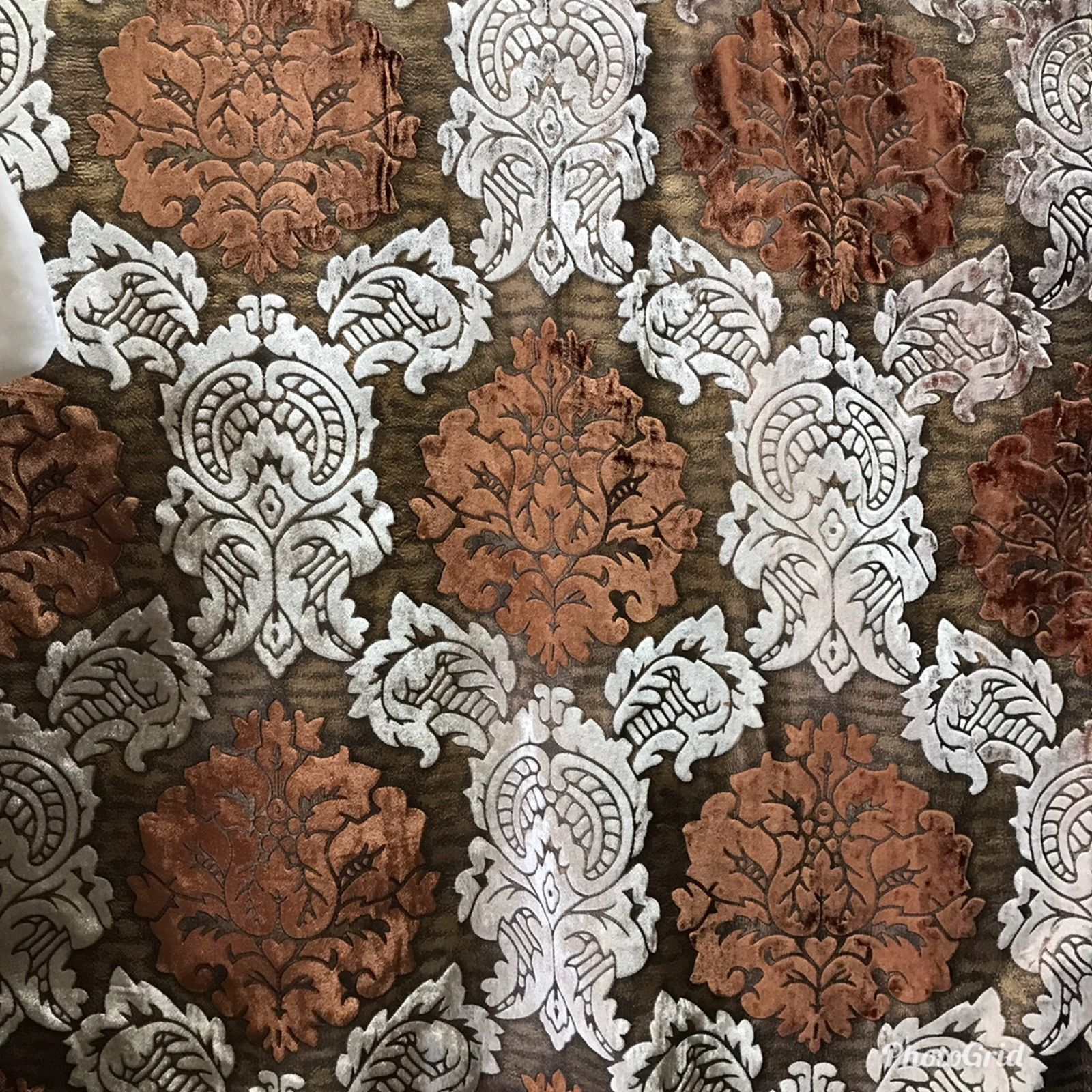 NEW! Designer Silk Rayon Velvet Fabric By yard- Floral Brown Rust - Fancy Styles Fabric Boutique