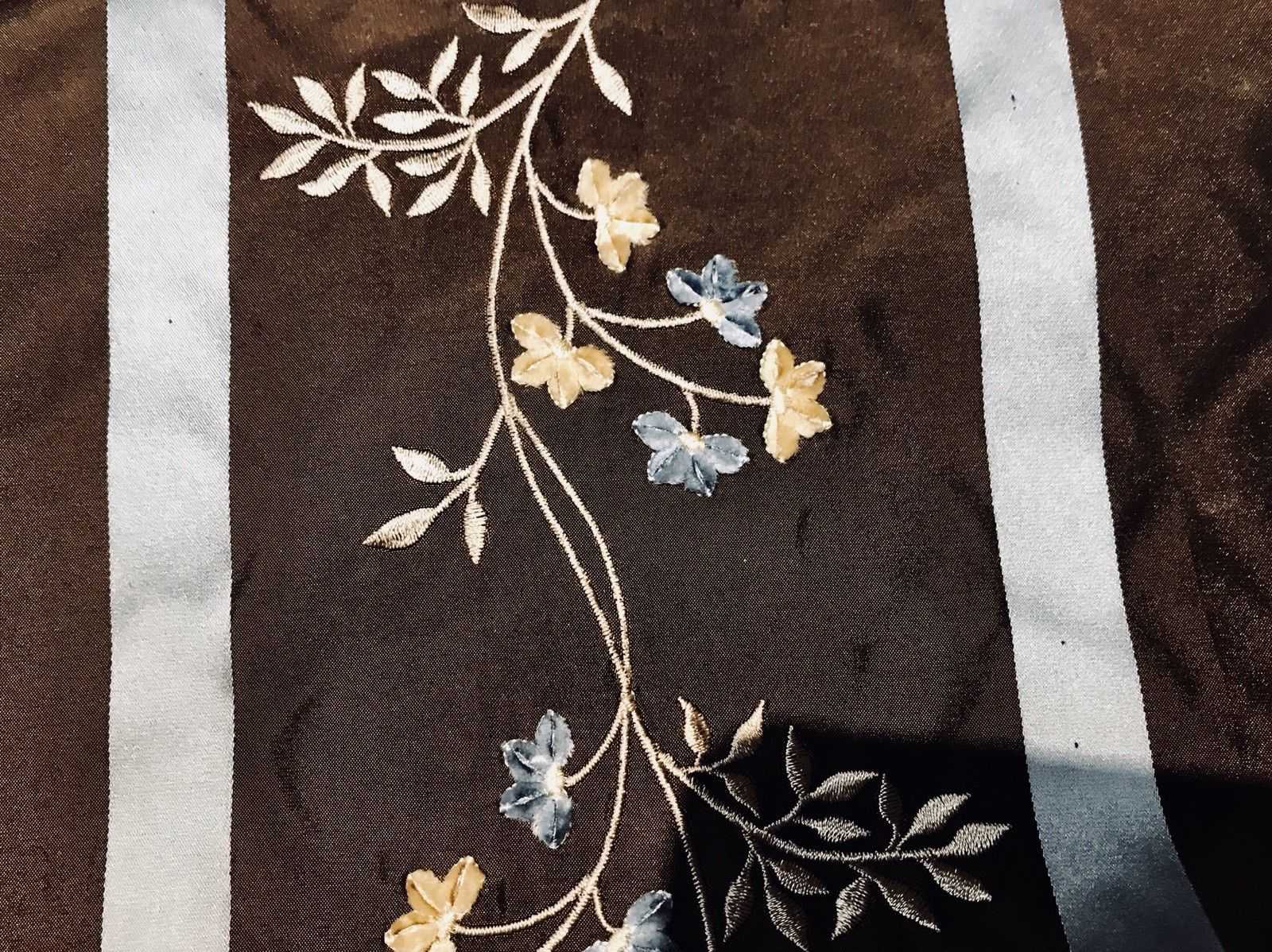 SALE! 100% Silk Taffeta Designer Fabric Embroidery Brown And Eggshell Blue - Fancy Styles Fabric Boutique