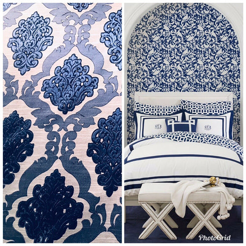 NEW Designer Burnout Damask Satin Upholstery Fabric- Blue & Natural BTY