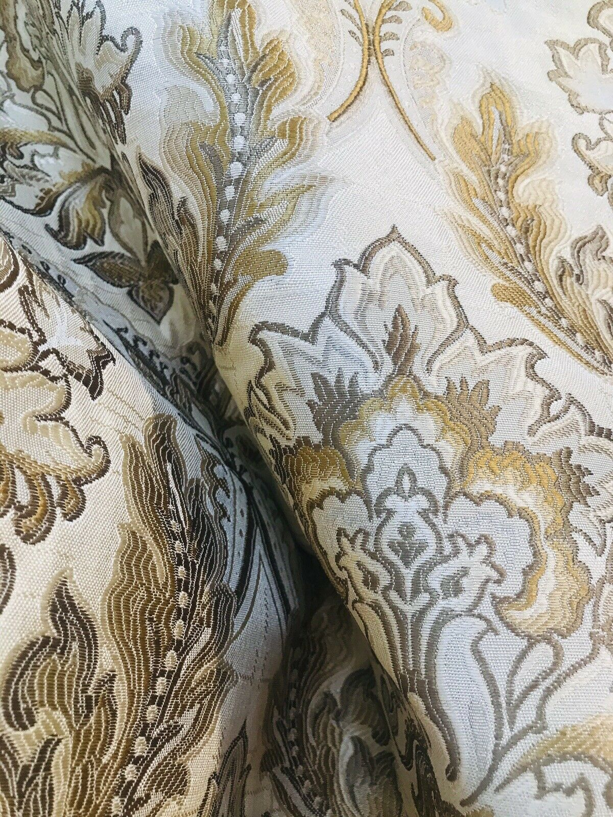 NEW! Sir Drew Brocade Damask French Upholstery Fabric- Camel, Cream, Taupe