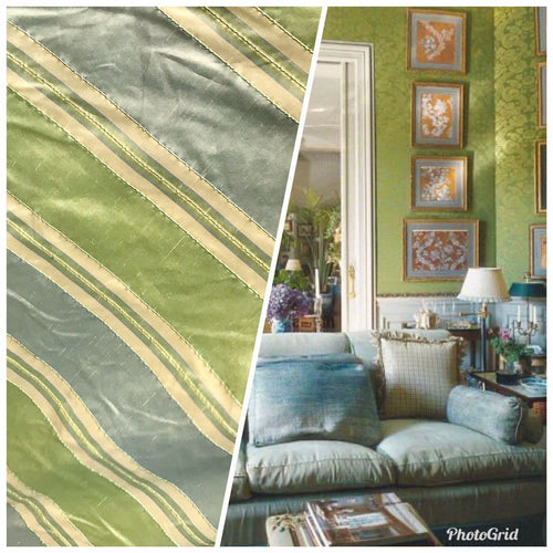 "NEW Designer 100% Silk Dupioni Stripes Embroidery Fabric - Blue Green 55"" Wide"