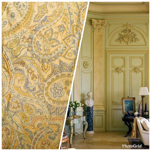 3/4 Yard Remnant- Brocade Paisley Upholstery Fabric- Italian Yellow Green Brown - Fancy Styles Fabric Pierre Frey Lee Jofa
