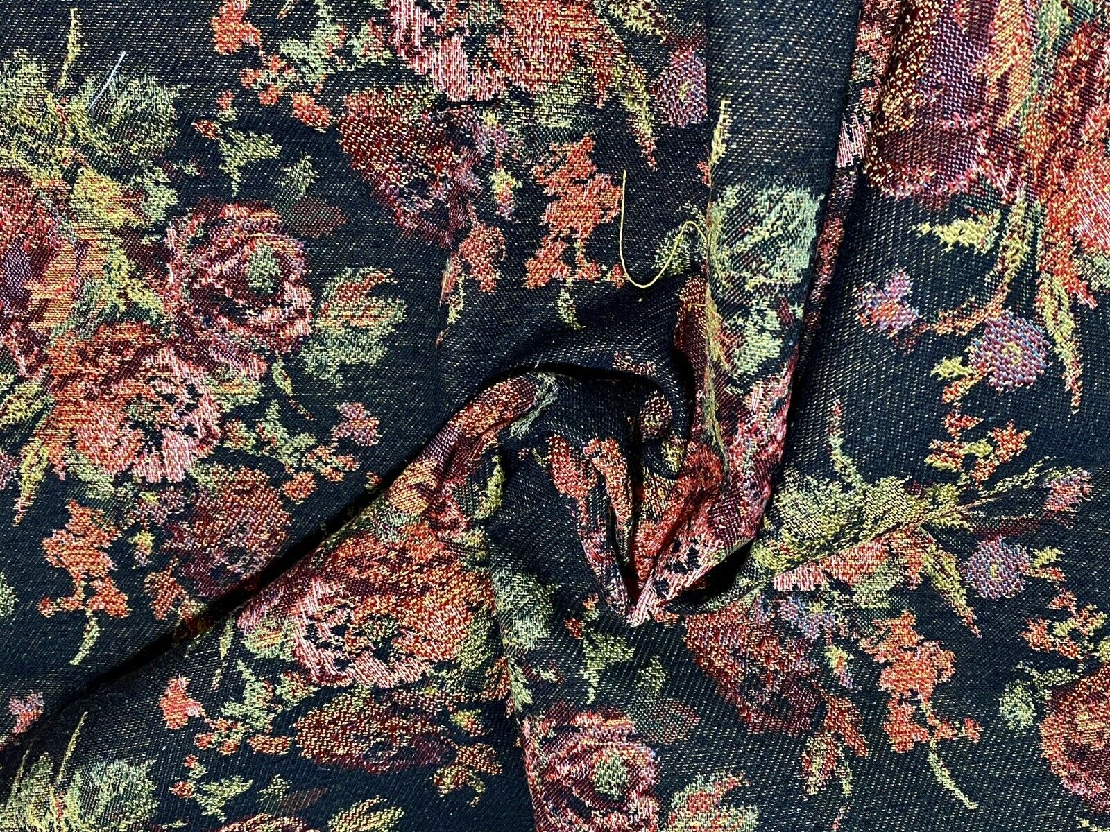 NEW Designer Floral Needlepoint Inspired Upholstery Fabric- Black & Roses
