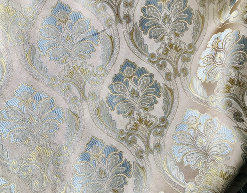NEW! Designer Brocade Satin Fabric- Blue Taupe- Upholstery Damask Drapery